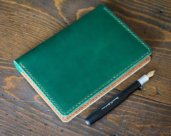 Leather cover for A6 sized softcover notebooks - Hobonichi, Midori, Muji, Apica & more - green / textured tan