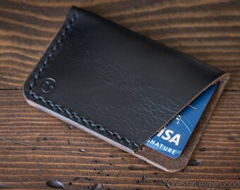 The Minimalist: micro card wallet -black Horween Chromexcel leather