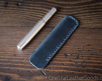 Kaweco Sport pen sleeve - hand stitched Horween Chromexcel leather - navy