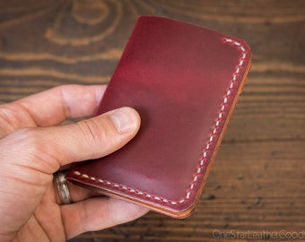 6 Pocket Vertical Leather Wallet, Horween Chromexcel - red / natural thread