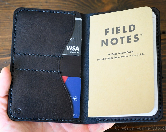 """Notebook wallet """"Park Sloper No Pen,"""" fits Field Notes and other notebooks - black bridle leather"""