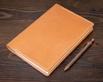 Hobonichi Cousin A5 planner leather wrap cover - also fits Life, Muji, Apica and Nanami Paper A5 - tan bridle leather