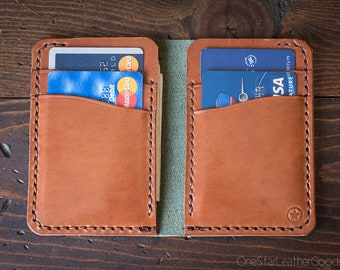 6 Pocket Vertical Wallet, Horween Chromexcel leather - forest/chestnut