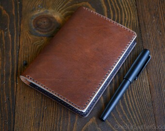 LIMITED RUN Hobonichi Techo (A6 size) planner cover, leather journal cover - Horween dark tan / brown