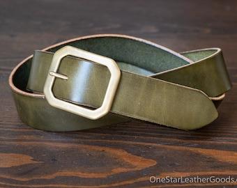 "Custom sized belt - 1.25"" width - olive harness leather - center bar buckle"