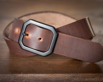 "Custom sized belt - 1.25"" width - Horween Dublin leather - center bar buckle - brown"