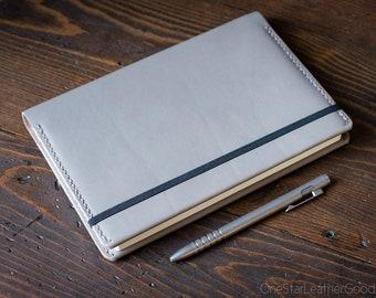Leuchtturm 1917 Medium (A5) Hardcover Notebook wrap cover - grey Horween latigo leather