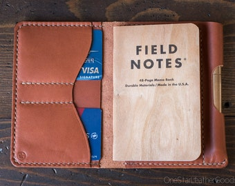 """Field Notes wallet with pen sleeve """"Park Sloper Senior"""" Horween leather - [fully stitched top] - chestnut"""