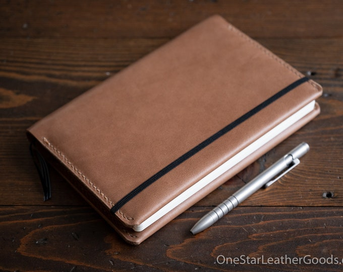 Leuchtturm 1917 Medium (A5) Hardcover Notebook wrap cover - Horween natural latigo
