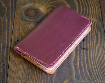 "Field Notes wallet, ""Park Sloper No Pen,"" notebook cover - Horween red Chromexcel / tan bridle"