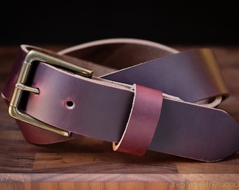 "Custom sized belt - 1.5"" width - Horween Chromexcel leather - heel bar buckle - burgundy color No. 8"