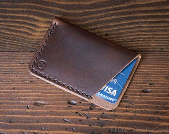 The Minimalist: micro card wallet - brown Horween Dublin