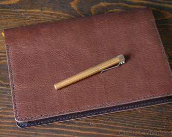 """Baron Fig Confidant PLUS 7x10"""" leather cover + notebook - Horween textured brown / dark brown"""