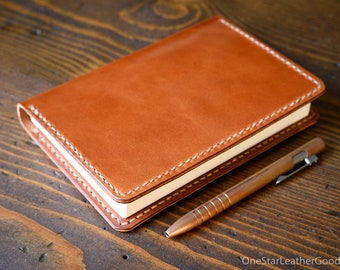 Leather cover for A6 sized softcover notebooks - Hobonichi, Midori, Muji, Apica & more - chestnut harness leather