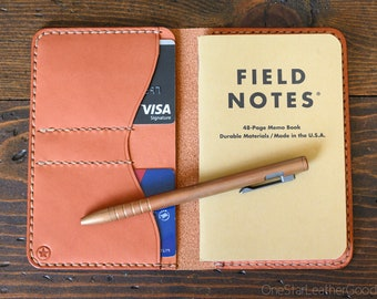 "Notebook wallet ""Park Sloper No Pen,"" fits Field Notes and other notebooks - chestnut skirting leather - fully stitched top edge"