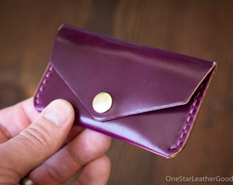 Coin pouch / business card case, Horween shell cordovan - ultraviolet color