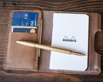 "Notebook/wallet/pen, ""Park Sloper Medium"" - Horween Chromexcel natural / bark thread"