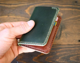 6 Pocket Vertical Wallet - Horween Chromexcel leather - forest / medium brown
