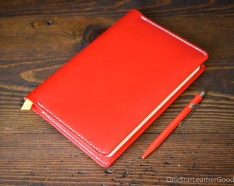 "Leather wrap cover for Baron Fig Confidant A5 ""Flagship"" size, includes notebook - bright red / natural stitch"