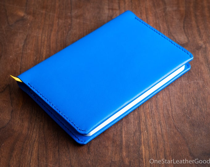 "Leather wrap cover for Baron Fig Confidant A5 ""Flagship"" size, includes notebook - blue"