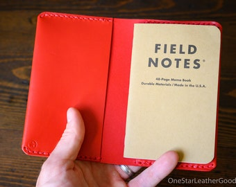 "Simple leather notebook cover for Field Notes and other 3.5x5.5"" pocket notebooks - bright red"