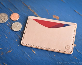 Three Pocket Flat Wallet - natural veg tan leather