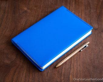 Leather wrap cover for A5 softcover notebooks - fits Hobonichi, Leuchtturm1917, Rhodia, Midori, Muji, Apica, Nanami and more - blue