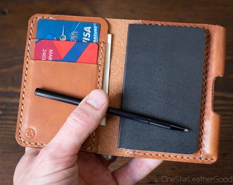 "Small Notebook Wallet and Pen ""Park Sloper Junior"" - chestnut harness leather"