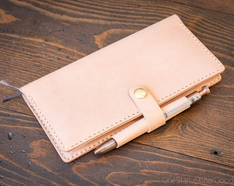 Cover for Hobonichi Weeks + pen loop and snap - natural veg skirting leather
