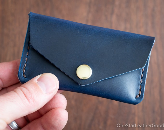 Coin pouch / wallet / business card case, Horween Chromexcel leather - blue