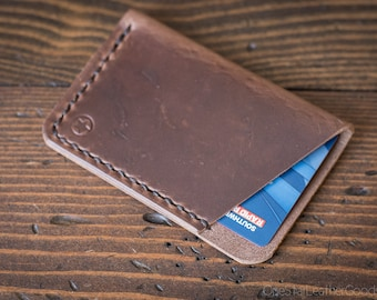 The Minimalist: micro card wallet - textured natural Horween Chromexcel