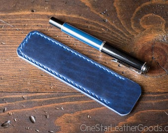 Pen Sleeve, Size Medium, Horween Chromexcel leather - blue