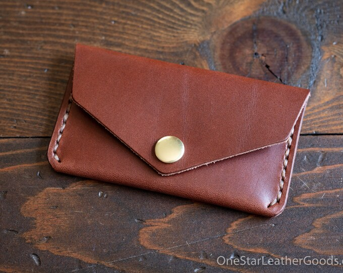 Coin pouch / wallet / business card case with snap - medium brown