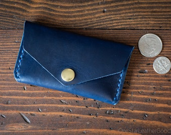 Coin pouch / wallet / business card case with snap, Horween Chromexcel leather - blue