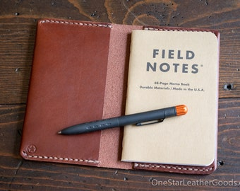 """Simple leather notebook cover for Field Notes and other 3.5x5.5"""" pocket notebooks - medium brown"""