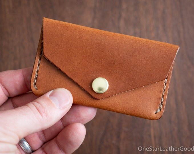 Coin pouch / wallet / business card case - chestnut harness leather
