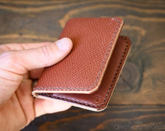 LIMITED RUN - 6 Pocket Horizontal Leather Wallet, Horween crosshatch / medium brown bridle