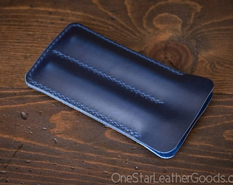 Double pen sleeve case, Horween Chromexcel leather - blue