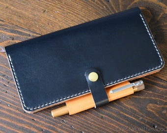 Cover for Hobonichi Weeks + pen loop, snap and card pockets - black / tan