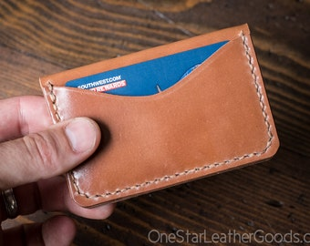 Three Pocket Card Wallet - hand stitched Horween shell cordovan leather - natural