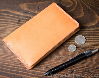 "Simple leather notebook cover for Field Notes and other 3.5x5.5"" pocket notebooks - tan bridle leather"