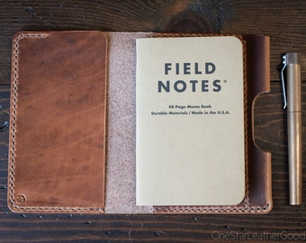 """Notebook cover + pen sleeve, 3.5x5.5"""" - hand stitched Horween leather - natural Dublin"""