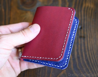 LIMITED RUN - 6 Pocket Horizontal Leather Wallet, Horween leather - magenta / blue