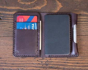 "Small Notebook Wallet and Pen ""Park Sloper Junior"" for Fisher Space Pen Bullet - brown bridle leather"