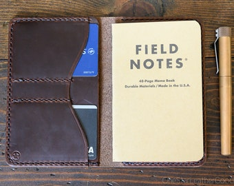 "Notebook wallet ""Park Sloper No Pen,"" fits Field Notes and other notebooks - brown Horween Chromexcel"