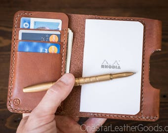 "Notebook/wallet/pen, ""Park Sloper Medium"" - chestnut harness leather"