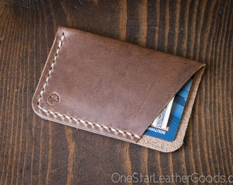 The Minimalist: micro card wallet - Horween Chromexcel leather - natural