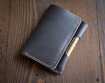 "Notebook/wallet/pen, ""Park Sloper Medium,"" Horween leather - slate"