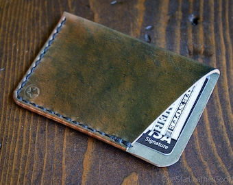 The Minimalist micro card wallet, business card holder, front pocket wallet - Horween marbled shell cordovan, black thread