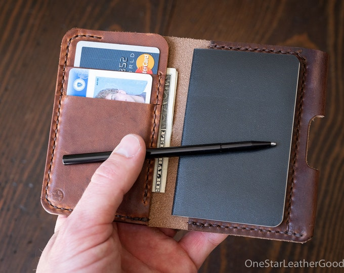 "Small Notebook Wallet and Pen ""Park Sloper Junior"" Horween Dublin Leather - brown / chestnut"